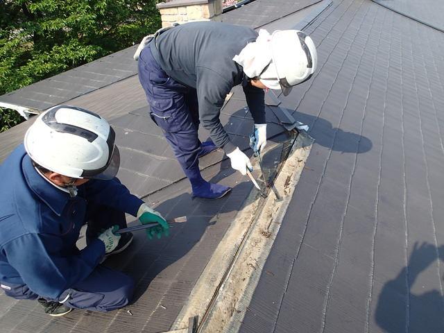 屋根ふき材の取り外し